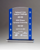 Clear Acrylic Award with Blue Edges and Silver Stars Colored Acrylic Awards