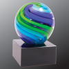 2 Tone Blue/Green Sphere Art Glass Glass Awards