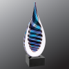 Blue/White/Black Twist Raindrop Art Glass Glass Awards