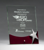 Glass Award with Silver Star and Rosewood Finish Base Wood & Glass Awards