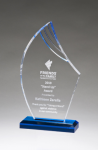 Flame Series Clear Acrylic with Blue Accents Achievement Acrylic Awards