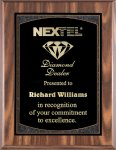 Walnut Finish Plaque with Engraving Plate Achievement Awards