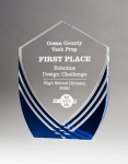Shield Series Clear Acrylic with Polished Lines and Blue Metallic Accent Acrylic Awards