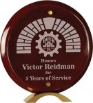 Round Rosewood Piano Finish Glass Standup Acrylic Plaques