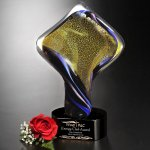 Golden Twist Black Optical Crystal Awards