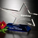 Rock Star Blue Optical Crystal Awards
