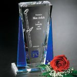 Sentinel Award Blue Optical Crystal Awards