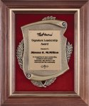 Genuine Walnut Frame with Metal Casting on Red Velour Cast Relief Plaques