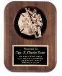 Genuine Walnut Plaque with Fireman Casting Cast Relief Plaques