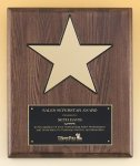 Walnut Stained Piano Finish Plaque with 8 Gold Star Cast Relief Plaques