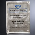 Silver Alloy Plaque Clear Optical Crystal Awards