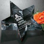 Slanted Star Paperweight Clear Optical Crystal Awards