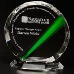 Danbury Emerald Circle Clear Optical Crystal Awards