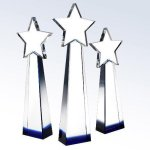 Blue Star Goddess Clear Optical Crystal Awards
