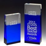 Together Blue Block Tower Crystal Award Clear Optical Crystal Awards