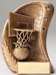 Curve Action Series Sculpted Antique Gold Basketball Resin Trophy  Closeout - Resins