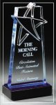 Blue Lasered Star Accent On Base Colored Acrylic Awards