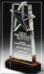 Gold Lasered Star Accent On Base Colored Acrylic Awards