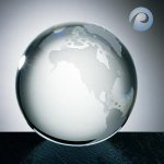Clear Ocean World Globe Crystal Paperweights