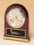 Rosewood Piano Finish Desk Clock on a Brass Base Desk Clocks