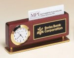 Rosewood Piano Finish Clock With Business Card Holder Desk Clocks