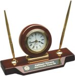 Rosewood Piano Finish Desk Clock W/Two Pens Desk Clocks
