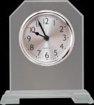 Clipped Corners Clear Glass Clock with Split Step Base Desk Clocks