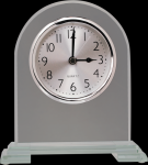 Arch Clear Glass Clock With Split Step Base Desk Clocks