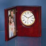 Wood Book Clock with Photo Frame Desk Items