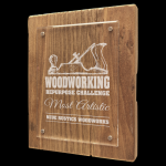 Reclaimed Wood Floating Acrylic Plaque with Magnetic Standoffs Eco-Friendly Awards