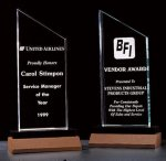 Zenith Summit Acrylic Award with Black Pedestal and Walnut Base Economy Acrylic Awards