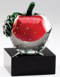 Elegant Crystal Red Apple In Clear Crystal Skin On Black Crystal Base Employee Awards