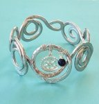 Swirl Cuff Bracelet - Silver Rotary Charm and Bead Exclusive Jewelry for Rotarians