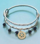 Bangle Bracelet - Silver Wrap, Silver Rotary Charm, and Beads Exclusive Jewelry for Rotarians