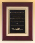 Rosewood Piano Finish Plaque with Florentine Plate Frame Plaques