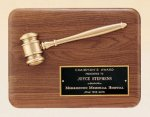 American Walnut Plaque with Antique Bronze Gavel Gavel Awards