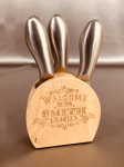 Wood block with three stainless cheese serving tools Gifts