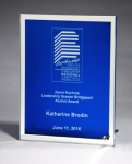 Glass Plaque with Blue Center and Mirror Border Glass Plaques
