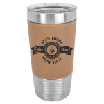 Polar Camel Lasered Leatherette Tumbler -Light Brown Leatherette Insulated 20oz Tumblers