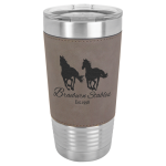 Polar Camel Lasered Leatherette Tumbler -Gray Leatherette Insulated 20oz Tumblers