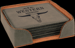 Leatherette Square Coaster Set -Gray Leatherette Items