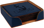 Leatherette Square Coaster Set -Blue Leatherette Items