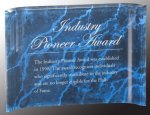 Blue Marbleized Acrylic Crescent Awards Marble & Stone Awards