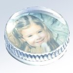 Molten Glass Round Photo Paperweight Paperweights