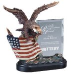Eagle On Flag With Glass Patriotic