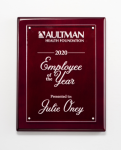 Clear Acrylic Plate on Rosewood High Gloss Plaque Plaques
