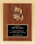 Fireman Award with Antique Bronze Finish Casting. Recognition Plaques