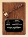 American Walnut Plaque with Walnut Gavel Recognition Plaques