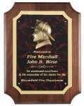 Genuine Walnut Plaque With Fireman Casting Recognition Plaques