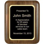 Solid Walnut Plaque with Elliptical Edge and Round Corners Recognition Plaques